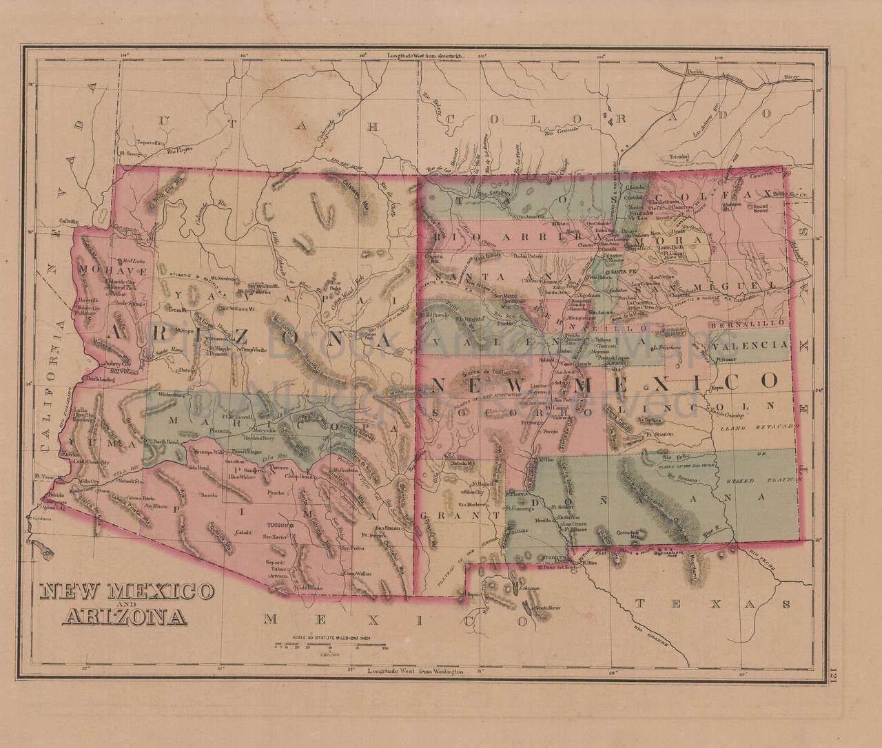 Authentic New Mexico Arizona Antique Map Gray 1876 for sale Home ...