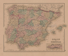 Spain Russia Antique Map Gray 1876