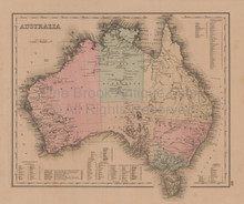 Australia Palestine Antique Map Gray 1876