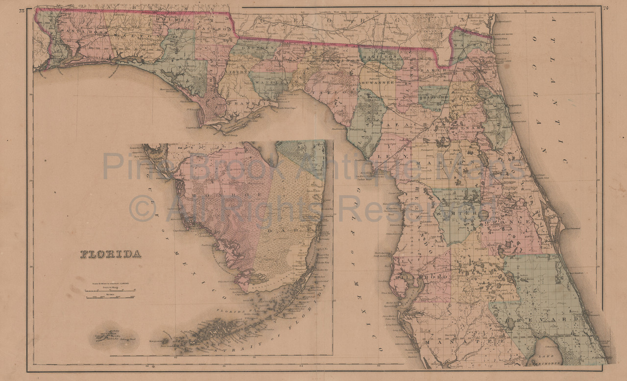 Antique Map Of Florida.Authentic Florida Georgia Alabama Antique Map Gray 1876 For Sale