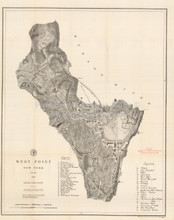 West Point NY Antique Map US Coast Survey 1883