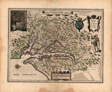 Virginia Antique Map Bleau 1638