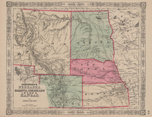 Nebraska Dakota Colorado Antique Map Johnson 1864