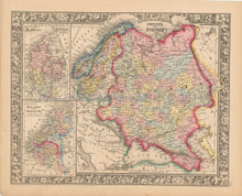 Russia Scandinavia Antique Map Mitchell 1864