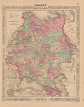 Russia Antique Map Johnson 1863
