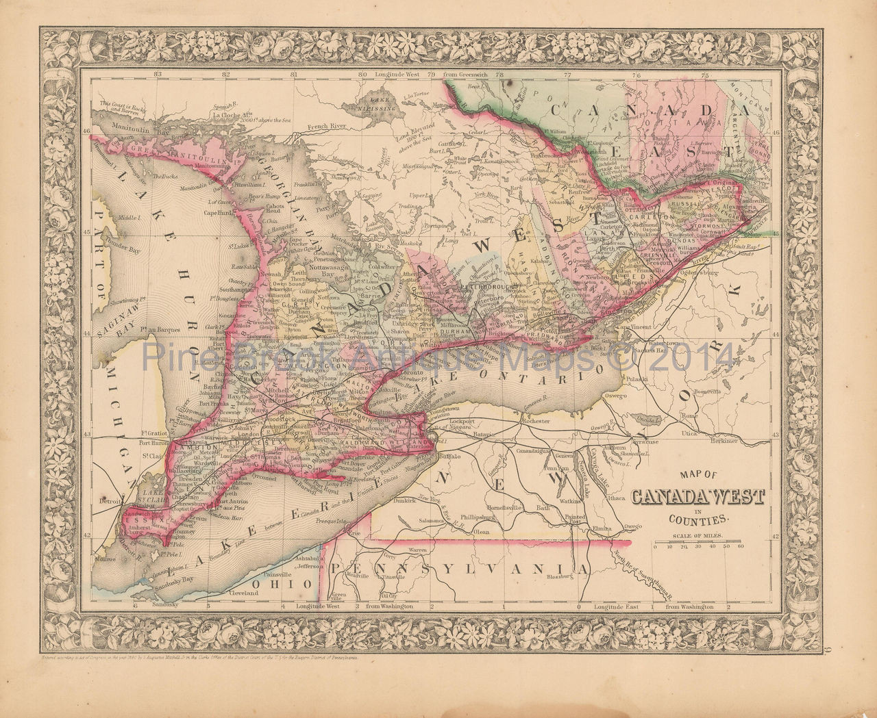 Map Of West Canada.Canada West Ontario Antique Map Mitchell 1866