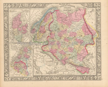 Russia Scandinavia Antique Map Mitchell 1866