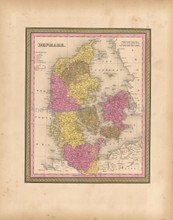 Denmark Antique Map Mitchell 1847