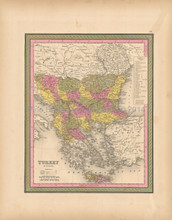 Turkey Europe Antique Map Mitchell 1847