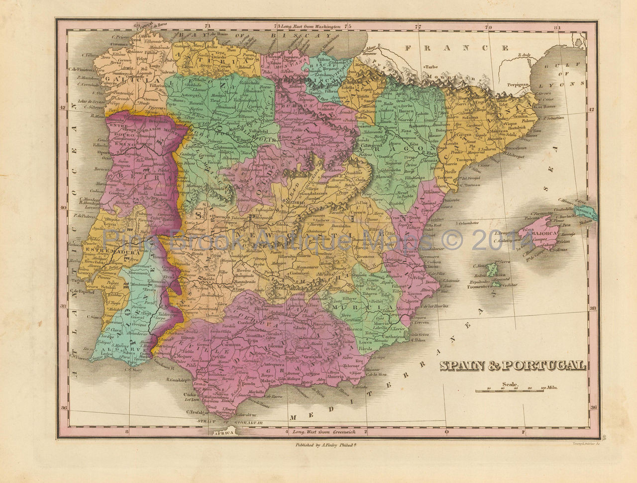 Map Of Spain For Sale.Spain And Portugal Antique Map Finley 1833