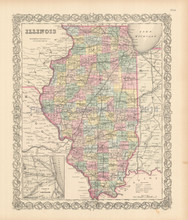 Illinois State Antique Map Colton 1856