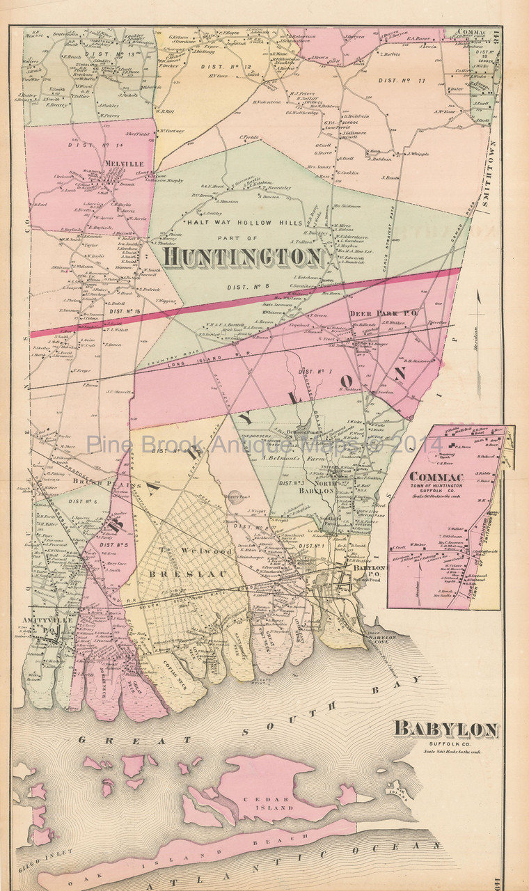 Huntington New York Map.Babylon Commack Smithtown New York Antique Map Beers 1873 Pine