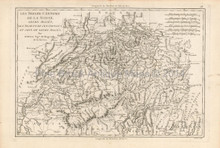Switzerland Cantons Antique Map Bonne 1787