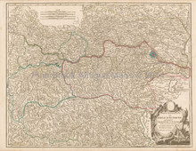 Austria Antique Map Vaugondy 1757