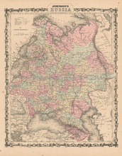 Russia Antique Map Johnson 1862