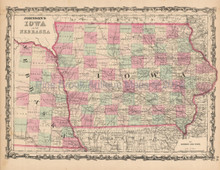 Nebraska Iowa Antique Map Johnson 1863