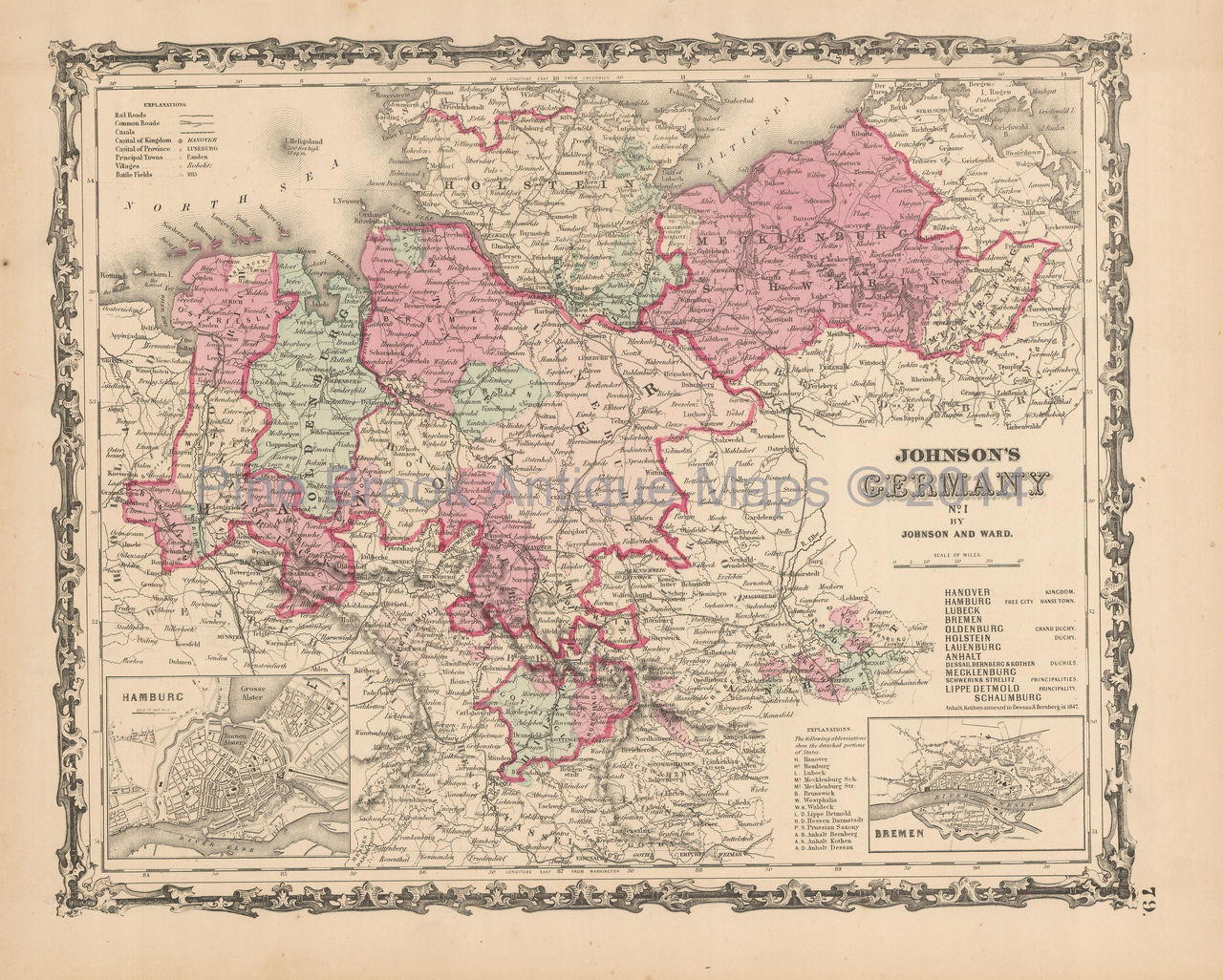 Map Of Germany For Sale.Germany Northern Antique Map Johnson 1863