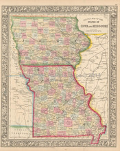 Iowa Missouri Antique Map Mitchell 1864  -2