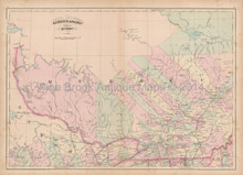 Quebec Canada Antique Map Asher & Adams 1873