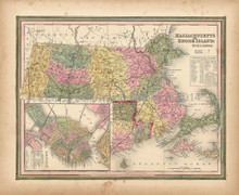 Antique Map Massachusetts Rhode Island Tanner 1845