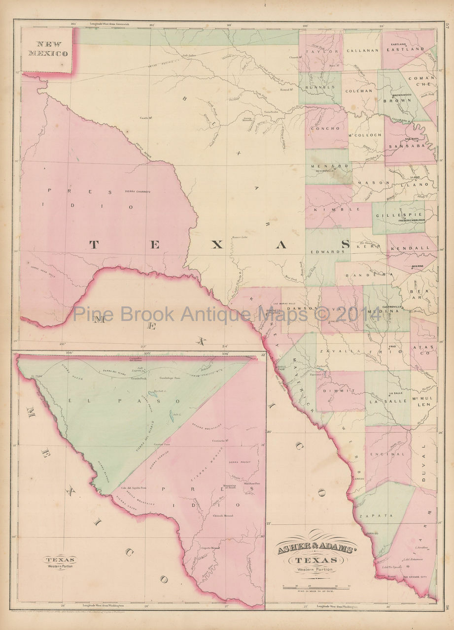 Old Map Of Texas.West Texas Antique Map Asher Adams 1873