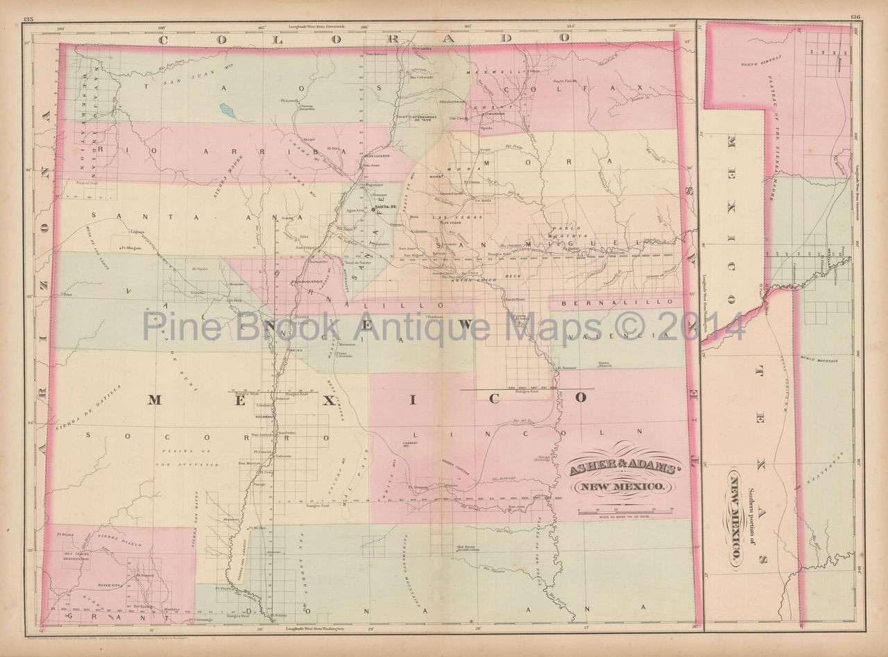 New Mexico Territory Antique Map Asher & Adams 1873