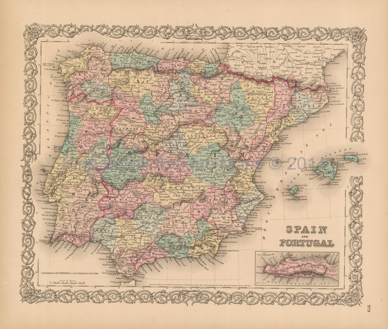Map Of Spain For Sale.Spain Portugal Antique Map Colton 1856