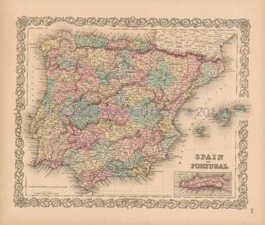 Google Map Of Spain And Portugal.Spain Portugal Antique Map Colton 1856
