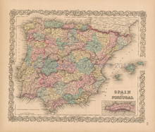 Spain Portugal Antique Map Colton 1856