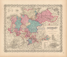 Germany North Antique Map Colton 1856