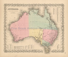 Australia Antique Map Colton 1856