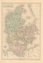 Denmark Antique Map Black 1851