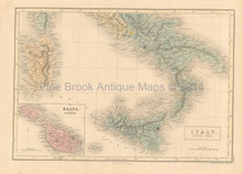 Italy South Antique Map Black 1851