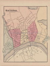Haverhill Newburyport Massachusetts Antique Map Walling 1871