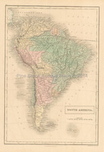 South America Antique Map Black 1851