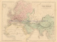World Known Ancients Antique Map Black 1851