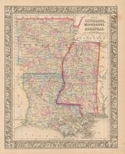 Mississippi Louisiana Antique Map Mitchell 1864