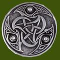 Celtic Triscele Interlacing Embossed Round Antiqued Stylish Pewter Brooch