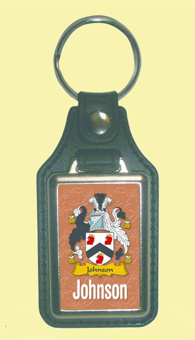 Johnson Coat of Arms English Family Name Leather Key Ring Set of 2