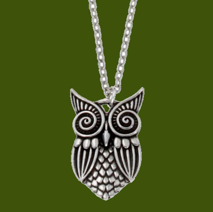 Greek owl of Athena English Pewter pendant on cord