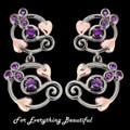 Origin Purple Amethyst Drop Welsh Rose Gold Detail Sterling Silver Earrings