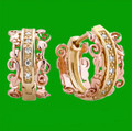 Am Byth Filigree Diamond Welsh Rose Gold Detail 18K Yellow Gold Earrings