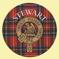 Stewart Clan Crest Tartan Cork Round Clan Badge Coasters Set of 2