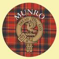 Munro Clan Crest Tartan Cork Round Clan Badge Coasters Set of 2