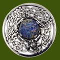 Celtic Open Knotwork Antiqued Opal Glass Stone Round Stylish Pewter Brooch