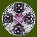 Celtic Triscele Shield Antiqued Purple Glass Stone Stylish Pewter Brooch