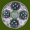 Celtic Triscele Shield Antiqued Iona Green Glass Stone Stylish Pewter Brooch