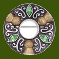 Thistle Flower Antiqued Ring Green Glass Stone Stylish Pewter Brooch
