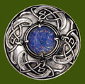 Viking Shield Round Antiqued Opal Glass Stone Stylish Pewter Brooch