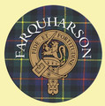 Farqharson Clan Crest Tartan Cork Round Clan Badge Coasters Set of 2